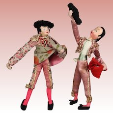 2 Tagged KLUMPE Cloth Dolls Spain Spanish Matadors!