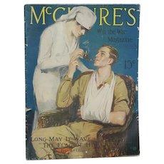 Antique 1918 McClure's Magazine WWI Nurse Cover!