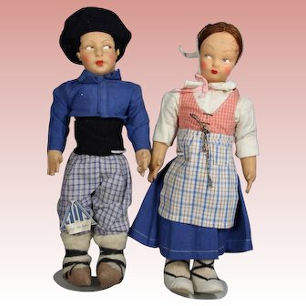 Spanish Cloth Lenci Type TAF Doll Pair w Tag! (Talleres Arte Fuste)
