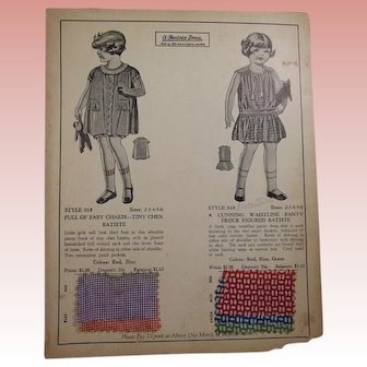 Vintage 1930s Child's Clothing Salesman Sample Card!