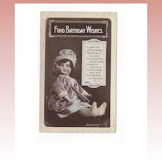 1927 Real Photo Postcard Bisque Doll Birthday Wishes