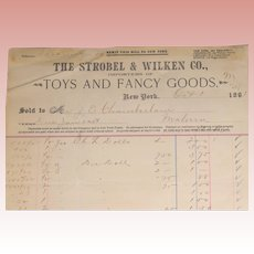 Antique 1891 Strobel & Wilken Co. Doll Toy Original Store Receipt !!!