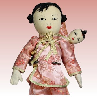 Sweet Vintage Chinese Cloth Doll Mom and Baby!