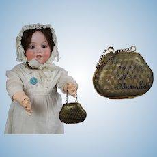 Antique 1900 French Paris Les Invalides Metal Doll Purse!