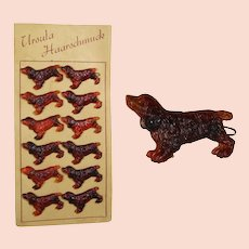 Vintage c1940s Card Faux Tortoise Shell German Dog Spaniel Barrettes!