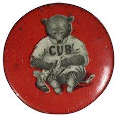 Antique Chicago Cubs Baseball Advertising Pinback Teddy Bear Shoeshine!