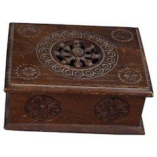 Antique Brittany Bretagne French Carved Wooden Trinket Box w Maker's Mark!
