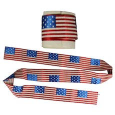 Antique Unused Flag Red White Blue Patriotic Silk Ribbon! Approx 1 Yard - 4th of July!