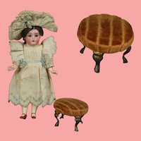 Antique French Fashion Doll Salesman Sample Upholstered Foot Stool!