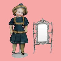 Antique Dollhouse Doll German Swivel Metal Cheval Mirror