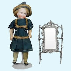Antique Dollhouse Doll German Swivel Metal Cheval Mirror