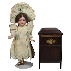 Vintage Cabinet Doll Size Victrola Swiss Music Box! WORKS!
