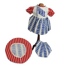 Vintage Red White Blue Patriotic American Flag Doll Outfit!