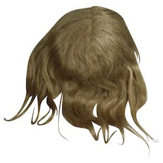 """Lovely Antique Bisque Doll Human Hair Wig 8-9"""" Circumf"""
