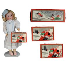 2 Darling Antique Christmas Candy Boxes for Doll to Hold!