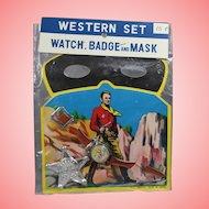 1950s NRFP! Boy's Western Badge Mask Watch Toy Set!