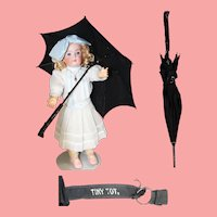 Antique c1900s Tiny Tot Child's Doll Parasol Umbrella!