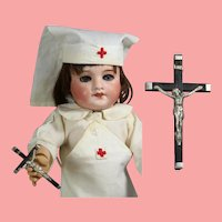 Vintage French Mini Doll Sized Crucifix Marked FRANCE