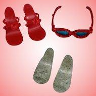Vintage Vogue Jill Doll Sunglasses & 2 Pairs Shoes - Fits Revlon Ginny