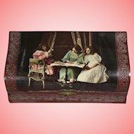 Antique Celluloid Dresser Box - Mother w Two Girls! TLC