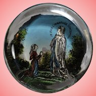 Antique French Eglomise Hand Painted Paperweight Virgin Mary