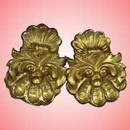 Beautiful Antique French Brass Curtain Drapery Tie Backs!