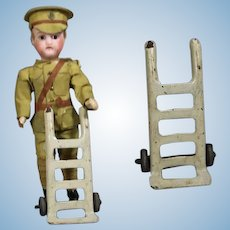Vintage Toy Doll Sized Metal Rolling Dolly!