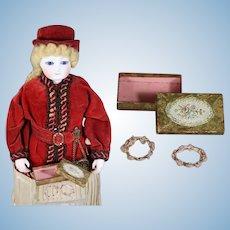 Lovely Antique Mini Box w Doll Garters Inside!