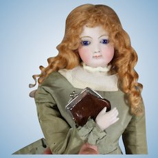 Antique Mini Leather French Fashion Doll Purse!