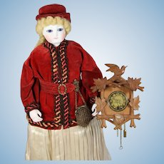 Vintage German Doll Sized Black Forest Carved Wood Clock