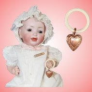 Vintage Mini Doll Baby Rattle w Copper Heart