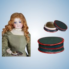 Antique Small French Red Green Box for Fashion Doll!