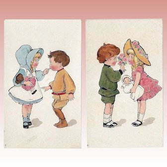 2 Antique Trade Cards w  Doll Theme!