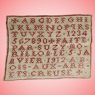 "Antique 1912 French Child's ABC Red White School Sampler ""Abecedaire""!"