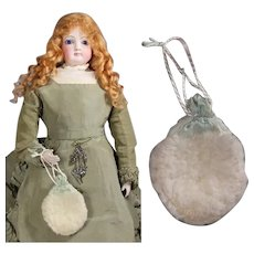 Darling Antique Doll Drawstring Purse!