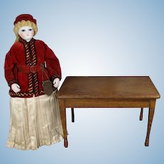 Antique French Fashion Doll Size Oak Doll Dining Table!