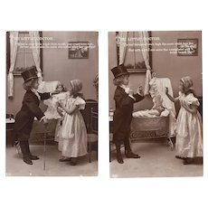 2 Antique Real Photo Postcards Girl, Doll Doctor, Bisque Doll