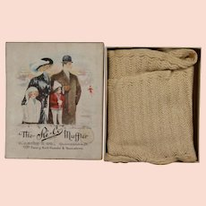 Gorgeous! Antique 1909 Crochet Muffler in Box w Winter Family!