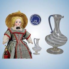 US Zone Germany Mini Doll Sized Blown Glass Striped Pitcher w Tag!