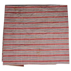 Antique Red White Blue Ticking Fabric - Great for Dolls, Bedding