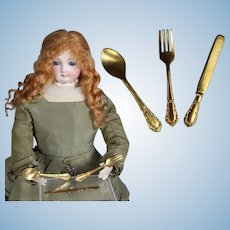 Antique French Fashion Doll Size Gold Spoon, Fork, Knife Set