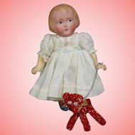 Vintage Red Dog on Leash for Your Doll!