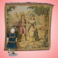 Vintage French Tapestry Square - Great Doll Backdrop!