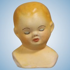 Vintage Doll Painted Bisque Sleeping Baby Head