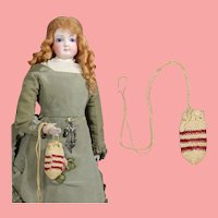 French Fashion Doll Crochet Reticule Draw String Purse!
