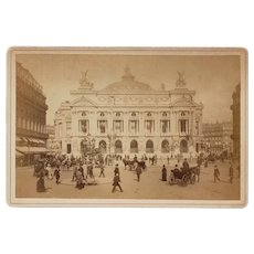 Antique Cabinet Photo Paris Opera France People Carriages Top Hats!