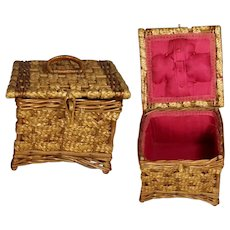 Beautiful Antique Wicker German Sewing Basket w Red Interior!