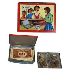 Vintage Tin Litho Child's Toy German KASSE Cash Box w Money!
