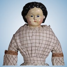 "Antique 13"" Papier Paper Mache Greiner Doll w Orig Dress, 1858 Label!"