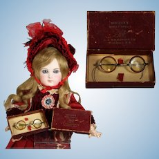 Antique Celluloid Doll Glasses Spectacles in Orig Box!